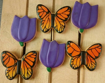 Monarch butterflies and Tulips - One Dozen