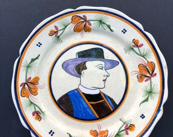 Vintage Quimper plate with beautiful detail image of man with hat.