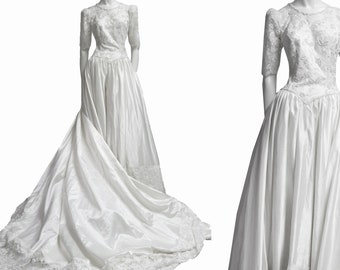 Wedding dress bridal gown vintage 80s 90s romantic robe mariage sequin beaded lace silk sz M new from deadstock