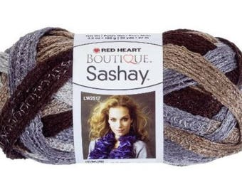 YARN RED HEART SASHAY 100GR BROWN BEIGE GRAY AND SILVER FRILLS / / 31