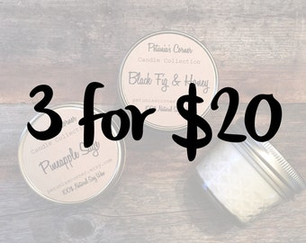 3 for 20 special 4oz Mason Jar Soy Candle