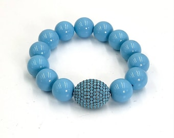 Turquoise Stack Bracelet Pave Turquoise Bead Layering Bracelet Turquoise Shell Bead Stretch Bracelet Stretchy Bracelet Bohemian Jewelry