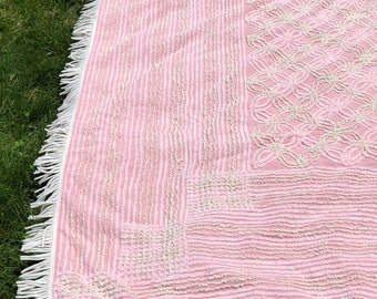 Vintage Pink Chenille Bedspread