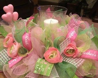 Ready To Ship Deco Mesh Mother's Day Centerpiece , Mother's Day Arrangement , Mother's Day Gift  , Mother's Day Candle Ring