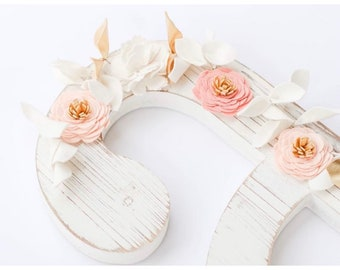 Felt flower Garland and blush light salmon and ivory    Baby room decor    Floral Garland    Garland