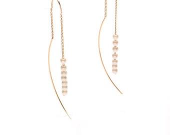 Line Pearl Threader Earrings - Minimal / Simple Jewelry