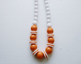 Vintage 1970s Creamsicle Chunky Bead Necklace