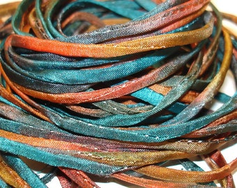 """5PCS. COUNTY FAIR 2MM Hand Dyed Silk Jewelry Cord//5PC. Hand Dyed Silk Cording 1/8"""" X 36""""//Hand Dyed Silk Jewelry Bracelet/Necklace Cording"""