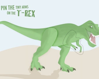 Pin the tiny arms on the t-rex printable game
