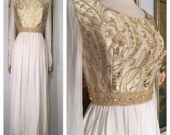 1960s Floor Length Evening Gown by Bee Jo California -- Unique Bodice, Sheer Sleeves, and Sparkling Rhinestones and Pearls