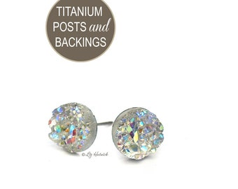 Clear Glitter Studs, Faux Druzy Titanium Post Earrings, Clear Faux Druzies, 8mm Cabochons