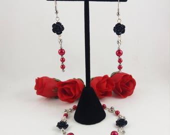 Black Rose Bracelet and Earring Set, Black Rose Bracelet,  Red Pearl Bracelet Set, Jewelry Gift, Gift For Bestie, Gothic Jewelry Set
