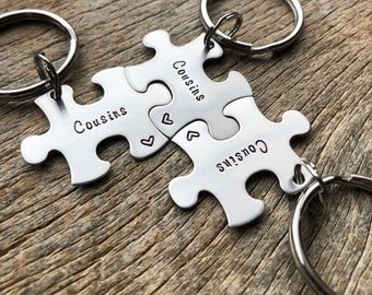 Customized Puzzle Piece Key Chain Personalized with Names  best friends sorority sisters  Cousins key chain Christmas Gift