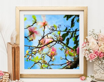 Floral Art Print, Printable Art, Pink Blossoms, Watercolor Flowers, Digital Download
