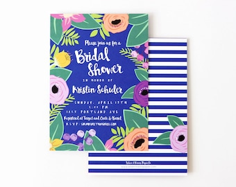 Floral Bridal Shower Invitations Beach Wedding Shower Invite Tropical Flower Invitations Destination Wedding Couples Shower Colorful Invites