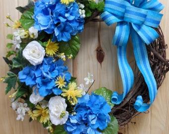 FREE SHIPPING - Hydrangea Grapevine Wreath, Blue Hydrangea Wreath, Front Door Wreath, Blue Hydrangeas, Year Round Grapevine Wreath, Blue Bow