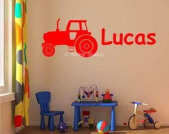 Farm Tractor Personalised Wall Art Sticker