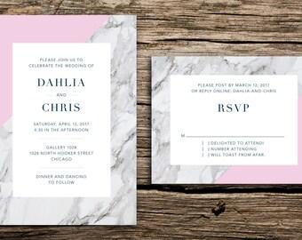 Modern Marble Wedding Invitation Set // Modern Wedding Invitations Geometric Minimalist Geo Natural Grey Gray Pink Carrera Fine Art