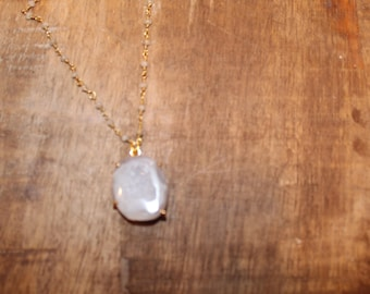 Neutral Agate Stone on Moonstone Rosary Chain