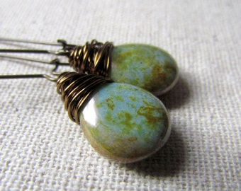 Sage Green Earrings, Green Earrings, Earthy, Green Teardrop Earrings, Czech Glass, Gifts Under 20, Wire Wrapped, Handmade