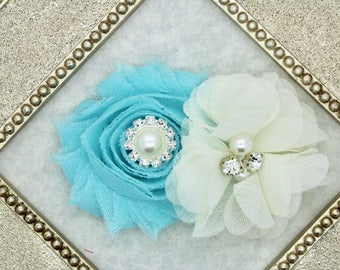 Aqua hair bows, tiffany hair clips, ivory flower hairbow, toddler hair clips, baby girl hairbows, girls hair clips, aqua and ivory bow