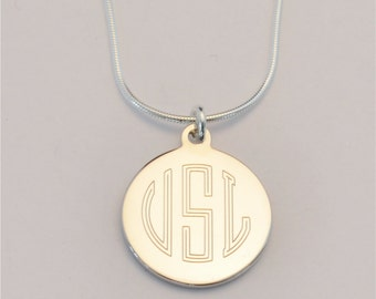 FREE SHIPPING Small Custom Engraved Monogram Charm Necklace, Personalized Bridesmaid Necklace, FREE Gift Wrapping,