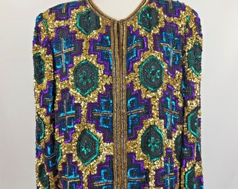 Awesome Vintage Sequin Jacket, Colorful Pattern, Gold, Blue, Purple