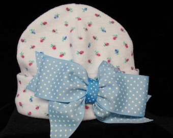 Newborn  Blue / Pink / Rose Bud Beanie / Hat  With Blue & White Dot  Bow Made And Ready To Ship