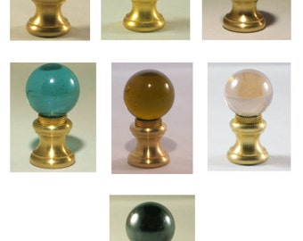 Lamp Finial-Glass Orb Lamp Finials in 7 Colors-Brass Base