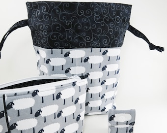 """Knitting Project Bag - New! """"White Sheep on Gray Knit Fabric with Pieced Notion Bag"""" 2 Piece Set (C.5)"""