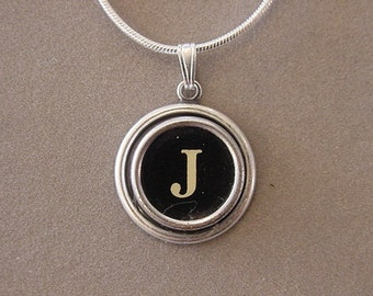 Typewriter Key Jewelery Necklace BLACK LETTER  J  Typewriter Key Necklace Initial Necklace Inital J