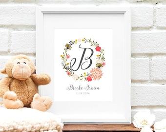 Floral Baby Monogram Initial, Pink Nursery Art Print, Personalized Floral Nursery Art, Baby Shower Gift, Floral Wreath Monogram - Print