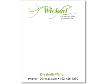 2 Personalized Notepads - Wicked The Warning Label - Sets of 2 or 4