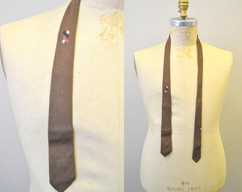 1950s Brown Skinny Necktie