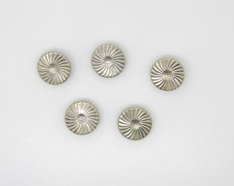 Vintage, silver, fluted round button