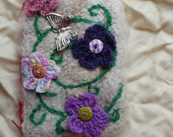 Handspun Cotswold Alpaca Felted and lined purse with UV reactive flower!