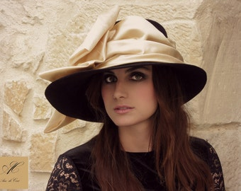 Wide brim felt hat - Camel bow hat - Black pamela hat - races hat for her -  Belle epoque inspired