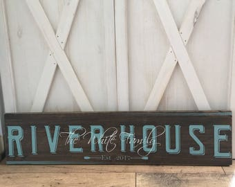 River House Sign - Custom Wood Sign - Vacation Home Sign- Housewarming Gift - Name and Est Sign - Wood Plaque - Closing Gift