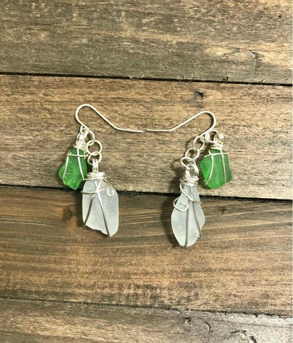 Genuine Green and White Sea glass dangle earrings