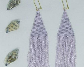 pastel purple handstitched seed bead mermaid earrings
