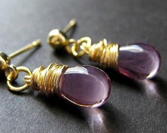Purple Earrings: Gold Wire Wrapped Stud Earrings in Glass. Handmade Jewelry by Gilliauna