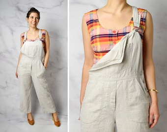 Vintage Linen Overalls in Natural Size Small - Small / Medium