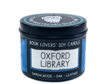 Oxford Library - 4 oz Book Lovers' Soy Candle -  Book Lover Gift - Scented Soy Candle - Frostbeard Studio
