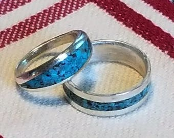 Sterling silver and turquoise band, silver band, turquoise band , silver turquoise band,