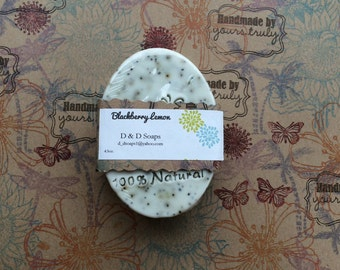 Blackberry Lemon  All Natural Glycerin Goats milk Moisturizing and Exfoliating bar soap