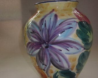 "Floral Italian Porcelain Vase, 7 3/4"" tall, stamped MADE IN ITALY"