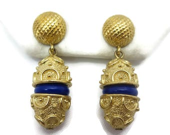 Mish Costume Jewelry Tassel Earrings Gold Tone Pierced