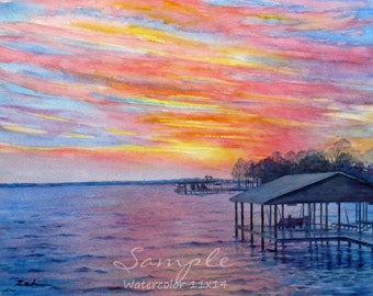 Custom watercolor sunset landscape or beach painting from photo, Unique commissioned art gift, Artwork by Janet Zeh Original Art