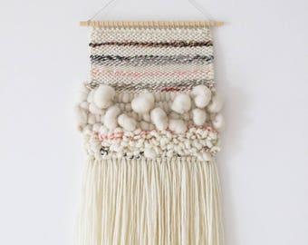 Nursery tapestry weaving | Woven wall hanging | Wall tapestry wall hanging | Woven wall art | Wall weaving | Pink, grey nursery wall decor