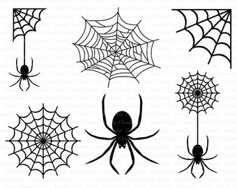 Spiders and Spider Web SVG files for Silhouette Cameo and Cricut. Clipart PNG Transparent included.